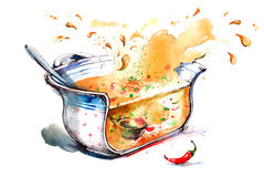 Soup. Aroma and flavor of vegetable soup in pan Stock Images