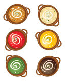 Soup background. An illustration of a selection of earthenware tureens with different flavors of soup and a cream swirl on a white background Stock Images