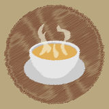Soup background scribble. Simple, bowl, doodle, drawn, soup, background, isolated, illustration, design, vector, art, symbol, food, graphic, old, cute, retro Stock Photography