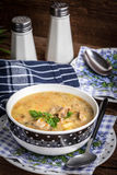 Soup with barley and chicken gizzards. Royalty Free Stock Image