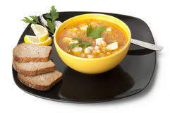 Soup with beans. Delicious soup with beans on white background Royalty Free Stock Photography