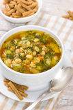Soup with beans with dill Royalty Free Stock Photo