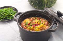 Soup with beans and squash with chilli powder Stock Image