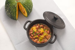 Soup with beans and squash with chilli powder Royalty Free Stock Images