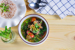 Soup with beef meal set Royalty Free Stock Photo