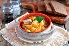 Soup of beef ribs, sauerkraut, onions, carrots and parsley. Royalty Free Stock Photography