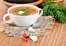Soup from a beet and cabbage with tomato Royalty Free Stock Photography