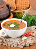 Soup from a beet and cabbage with tomato Stock Photo