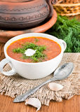 Soup from a beet and cabbage with tomato sauce Stock Photos