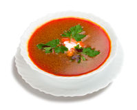 Soup from beet with sour cream Royalty Free Stock Photos