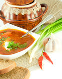 Soup from a beet  with tomato sauce Royalty Free Stock Photo