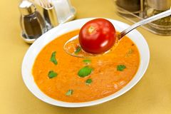 Soup from beet and tomato  with sour cream, view f Royalty Free Stock Photos