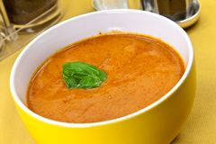 Soup from beet and tomato  with sour cream, view f Royalty Free Stock Image