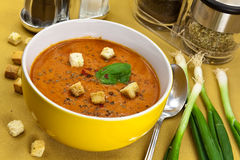 Soup from beet and tomato  with sour cream, view f Stock Photos