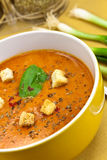 Soup from beet and tomato  with sour cream, view f Stock Photo