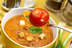 Soup from beet and tomato  with sour cream, view f Stock Images
