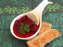 Soup of beetroot Stock Photo