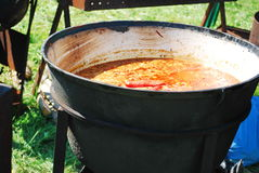 Soup in a big pot. On fire Stock Images
