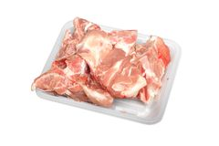 Soup bone pork. In plastic container isolated Stock Photo