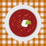 Soup borsch with parsley and sour cream Stock Images