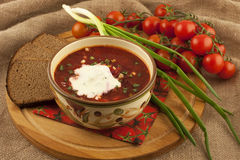 Soup borsch with sour cream Royalty Free Stock Photo