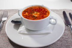 Soup. borscht in a white plate Stock Image
