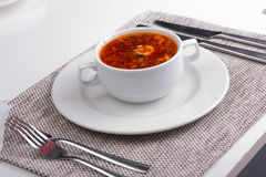 Soup. borscht in a white plate Royalty Free Stock Image
