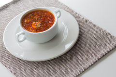 Soup. borscht in a white plate Royalty Free Stock Images