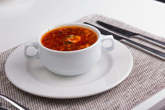 Soup. borscht in a white plate Stock Photo