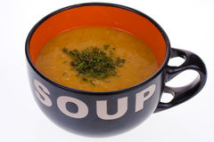 Soup bowl. Bowl of hot soup on a plain background stock images