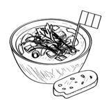 Soup bowl with a flag - Outline vector illustration
