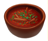 Soup bowl. Isolated bowl of red soup Royalty Free Stock Images