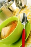 Soup in bowl, pan and ladle. Stock Images