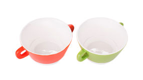 Soup bowls on background. Royalty Free Stock Photo
