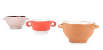 Soup bowls on background. Stock Photo