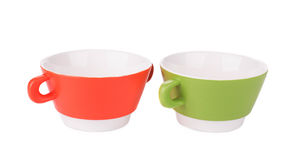 Soup bowls on background. Royalty Free Stock Photography