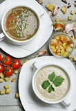 Soup bowls composition with text copy space mushroom cream and f Stock Images