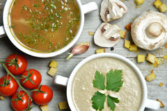 Soup bowls composition with text copy space mushroom cream soup Royalty Free Stock Photos