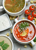 Soup bowls composition with text copy space mushroom cream soup Stock Photo