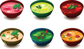 Soup bowls - stylized. Set of various tasty soups in colorful bowls, for food menu etc Stock Image