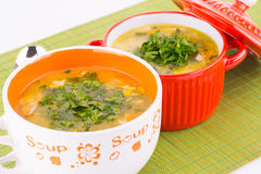 Soup in bowls Stock Image