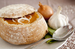 Soup in a bread bowl Stock Photo