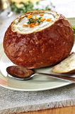 Soup in bread bowl Royalty Free Stock Photography