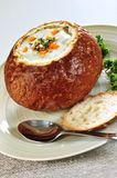 Soup in bread bowl Stock Image