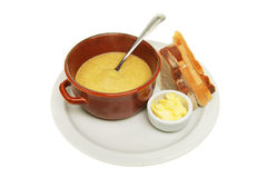 Soup bread and butter Stock Image