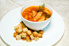 Soup and bread croutons, entree Royalty Free Stock Photo