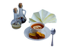 Soup and bread. Soup in a cup and baked bread Stock Photo