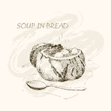 Soup in bread Stock Photo