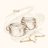 Soup and bread. Hand drawn graphic illustration stock illustration
