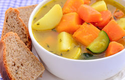 Soup and bread Royalty Free Stock Photo